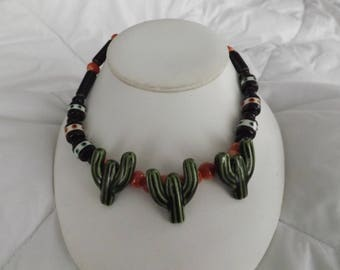 Flying Colors Vintage Ceramic Southwestern Cactus Necklace
