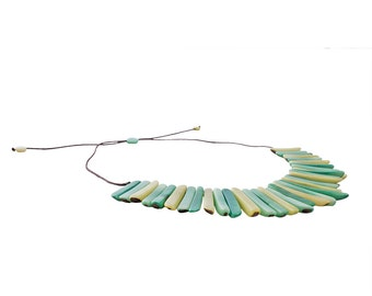 Green and Blue Tagua Stick Necklace