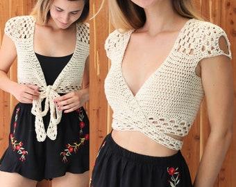 """Crochet Top pattern PDF, Crochet pattern -ADORA- crochet top, crop top pattern, Wrap Crop top pattern, Bust size 30"""" to 44"""", Sizes S-M-L-XL"""