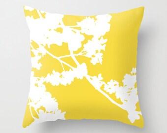 Cherry Blossoms Pillow  - Yellow Pillow Decor - Neutral Home Decor - Spring Decor - By Aldari Home