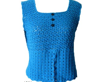 Blue summer top/Camisole/corset/tunic hand crochet handmade: unique