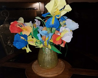 Handmade Crepe Paper Iris/Spring Flowers/Forever Flowers/Allergy Free/Paper Botanical Replica/Wisdom Flower/Hope and Faith