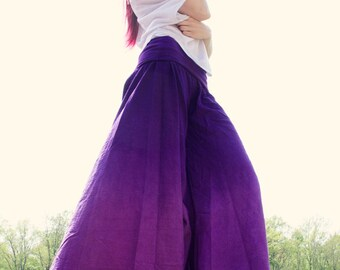 Purple Palazzos with extra wide legged pants, comfortable loungewear with plus size options and boho style