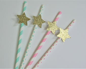SHIPS FAST - 10 ct Twinkle Twinkle Little Star Straws, Pink, Mint & Gold Star Birthday Straws, Handcrafted and Shipped in 1-3 Business Days