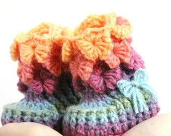 CROCHET PATTTERN: Orchid Stitch Booties (Baby Sizes) - Instant Download - Crochet Baby Booties