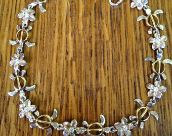 Sterling Silver and Gold Turtle Charm Bracelet