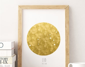 Leo - The Lion - Constellation - 8x10 DIGITAL PRINTABLE PDF