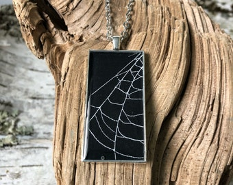 Spider Web Necklace, Spider Web Pendant, Antique Silver Pendant, Gothic Necklace,  Halloween Pendant, Real Preserved Spider Web