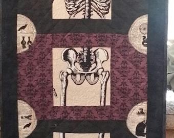 Halloween, skeleton, bones, quilt, decoration