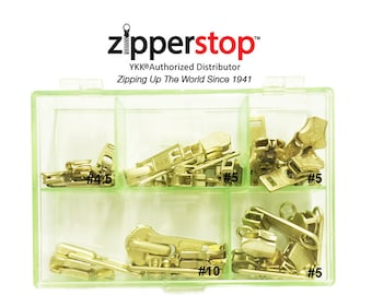 Zipper Repair Kit Solution Metal YKK® Assorted Aluminum Slider Easy Container Storage Sets of Sliders #3, #4.5, #5,  #10 Top - Bottom Stops