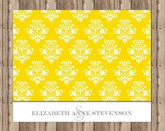 PERSONALIZED NOTECARDS YELLOW Damask /  Boxed Set of Sophisticated Notecards for Women/ Yellow and Gray / Stationery Monogram / Set of 10