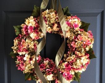 Spring Wreaths | Front Door Wreaths | Hydrangea Wreath | Spring Wreath | Gift for Mom | Outdoor Wreath | Door Decor