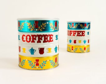"""Vintage 1960s Maryland Club Coffee Tin 7x6"""" Red Gold Teal Americana Retro Kitchen Storage Display Collectible"""