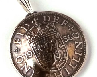 Lion Shield Pendant, British Coin Jewelry, Lion Heraldry, Authentic England Coin Jewelry, Crown and Crest, Vintage British Jewelry