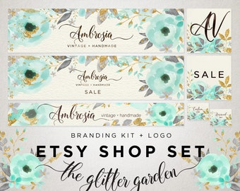 Premade Shop Banner Set - Modern Calligraphy Logo - Cover Image Shop Icon Store Graphics - Mint Aqua Blue Watercolor Gold Glitter Flowers 10