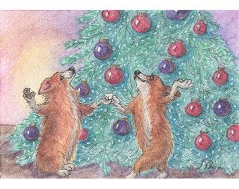 Pembroke Welsh corgi dog pup puppy 8x10 inch art print sable Susan Alison rocking around th Christmas tree happy holiday singing and dancing