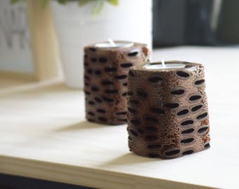 Wood decor - rustic candle holder, wooden candle holder, wood home decor, australian gift, wood candle holder, tealight holder, banksia