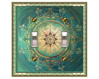 0328x- Asian Aqua Mandala - mrs butler switch plate covers -