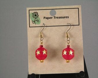 Red Christmas Ball Earrings