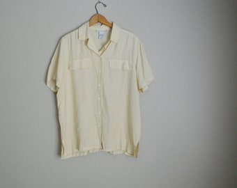 vintage 90s ivory ecru silk breezy blouse button down short sleeve blouse top -- womens medium large