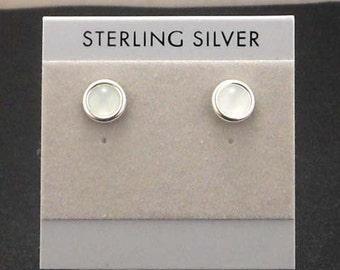Aquamarine Sterling Silver Stud Post Earrings