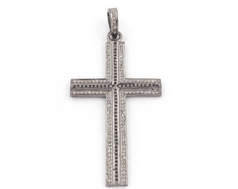 Memorial Day 1 Pc Pave Diamond Cross Pendant 925 Sterling Silver Pendant - Black Spinel Cross Pendant 59mmx30mm PD1740