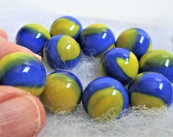 """Blue Yellow 5 Marbles Vintage """"Aggie"""" Glass Collectible Marbles 5/8"""" (15mm) Glass Collector Children Game Jewelry Making"""