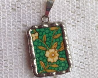 Broken China Jewelry - Green and Gold Pendant