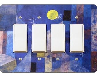 Paul Klee Moonlight Painting Quadruple Decora Rocker Light Switch Plate Cover