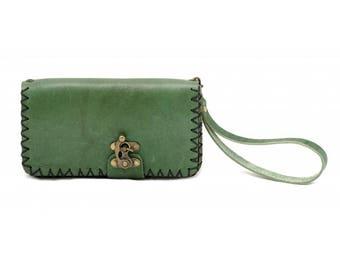 Wristlet, Clutch leather Strap,Rozat Leather Purse,color Green