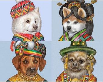 International Dog Society - 4 Art Prints - Samoyed, Akita Inu, Rhodesian Ridgeback, Tibetan Spaniel - Pet Portraits by Maria Pishvanova