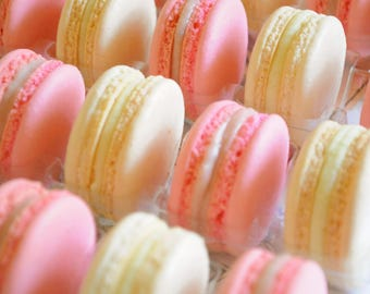 Blush Pink and off White Macarons, baked goods, 50 pieces, Authentic French macaroons,  gourmet cookie, edible macaroon,  party favors