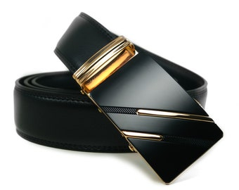 "Automatic Belt Buckle Genuine Leather Belt for Wedding Grooms or Best Man Gift ""Epiphany"""