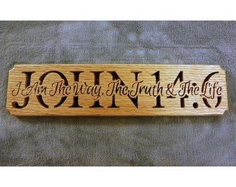 Life verse, John 14:6, religious wall art, scripture wood sign, scripture wall sign, Christian wall art, scripture sign, bible verse art