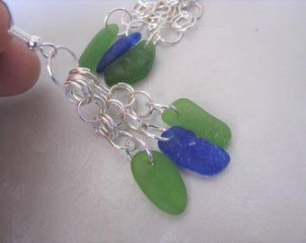 Chandelier Sea Glass Earrings-Dangle Blue and Green Earrings-Beach Glass Earrings -Sea Glass Jewelry-Pure Sea Glass from PEI - Ocean Jewelry