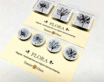 NEW for Spring - Flora Magnets - set of 3 or set of 4 - made from original charcoal drawings - nature flowers - black and white