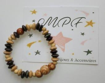 Round and flat wooden Bangle Bracelet