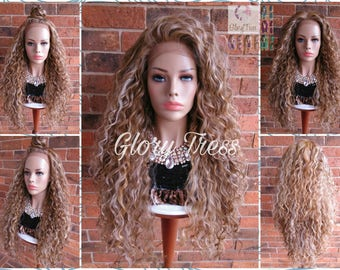 ON SALE// Long Beach Curly Lace Front Wig, 100% Brazilian Human Hair Blend, Big Curly Wig, Blonde Wig, Free parting // LIFE