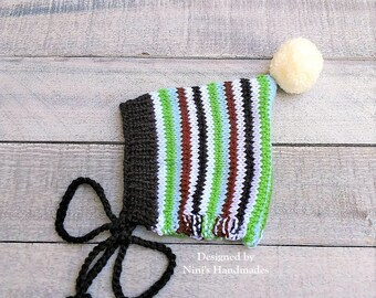Knit Striped Pixie Bonnet Pom Pom Hat For Fall and Winter Chunky available, Sizes Preemie to Adult size, Bonnet Kids apparel, newborn hats