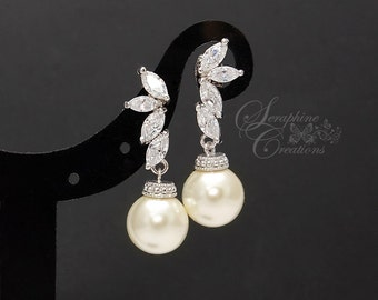 Bridal Pearl Earrings Wedding Jewelry Bridal Earrings Swarovski Pearls Cubic Zirconia Wedding Earrings Bridesmaid Gift Eliana Classic K129