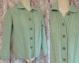 80s Sweater Cardigan ~ Kilronan Knitwear Irish Seafoam Green Wool Jumper ~ Made in Ireland ~ Chunky Knit Hearts ~ Excellent Condition ~ M
