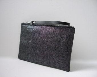 Black Clutch Purse, Black Wristlet, Black Metallic Bag, Cool Clutch Bag