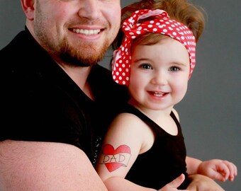 daddy's girl children tattoo funny father's day gift dad temporary tattoo photoshoot prop fathers day gift from daughter red heart tattoo