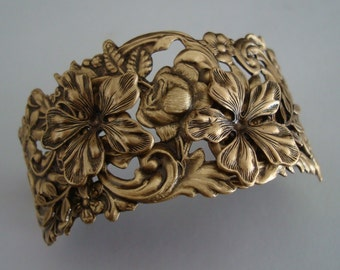Victorian Bracelet Cuff Supply OR Exclusive Floral Cuff,  Your Choice, Flowers, Leaves, and Rings Soldered for a Quality Jewelry Component