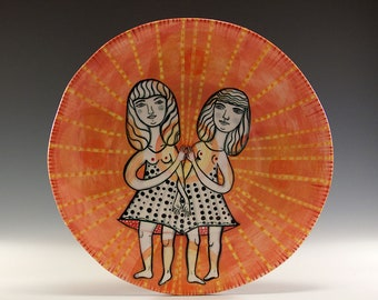 Original Painted Plate - Painting by Jenny Mendes on a round ceramic plate - Couple In Love - Perfect Wedding Gift for Two Sweet Ladies