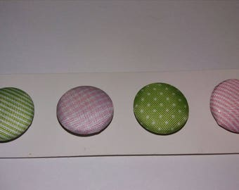set of 4 buttons pink and green fabric