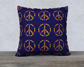 Rainbow Peace Sign 22x22 Pillow Case