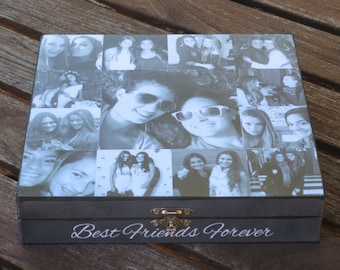 Best Friends Gift, Unique Maid of Honor Gift, Sister Gift, Personalized Keepsake Box, Custom Photo Collage, Unique Birthday Gift, Graduation