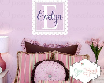 Girl Name Wall Decal with Scallop Square Border Frame - Initial and Name Cute Vinyl Decal for Big Girl Room Square FN0065