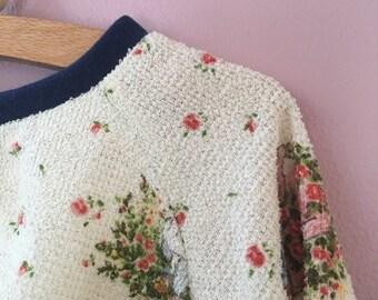Märchen Pullover Frottee Kinderkleidung 92 98 104 vintage 70er seventies Raglanpullover Raglanärmel 3Y - 4Y sweatshirt pulli 70s